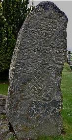 Class II Pictish cross stone in Migvie kirkyard, Tarland, Aberdeenshire