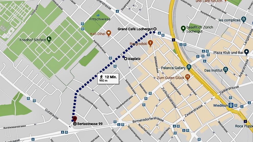 Vom Lochergut bis Idaplatz: Stadtkarte Zürich Wiedikon mit Bertastrasse