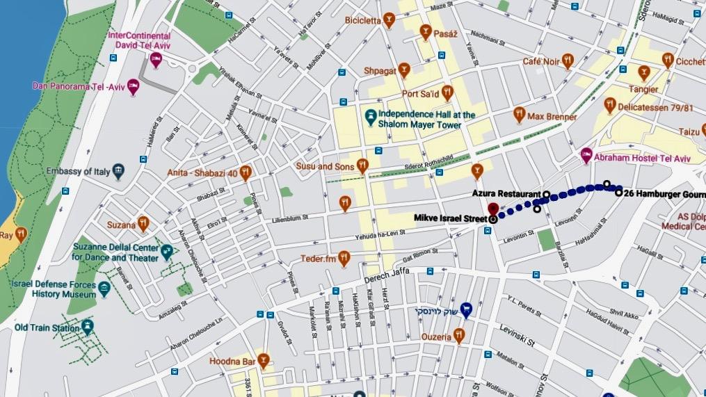 Landkarte vom trendigen Stadtquartier Gan HaHashmal in Tel Aiv
