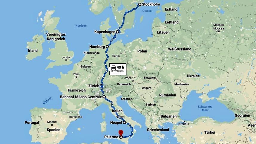 Autostrecke von Stockholm über Kopenhagen, Hamburg, Zürich, Milando und Napoli nach Palermo. Ein Thema der Bucket List des Reiseblogs der Internaut.