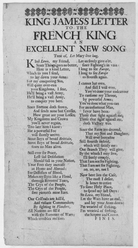 Broadside ballad entitled 'King James's Letter to the