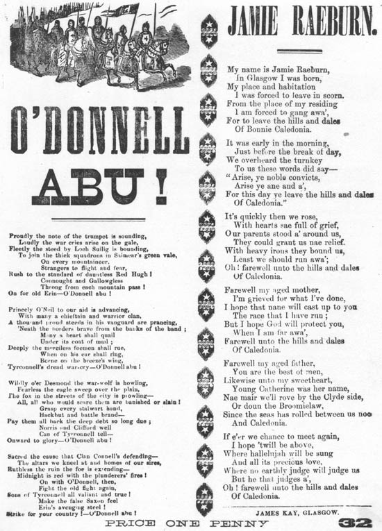 Jamie Raeburn: broadside printed by James Kay, Glasgow. Probable period of publication: 1840-1850. From the National Library of Scotland Word on the Street site.