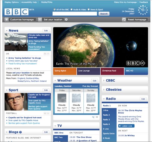 New BBC Home Page