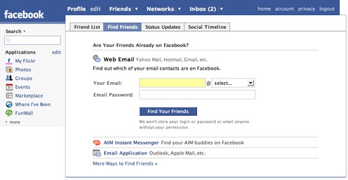 Facebook GMail upload