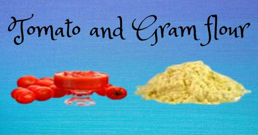 Tomato and gram flour DIY homemade tan removal face pack.