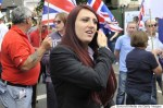 LUTON, UNITED KINGDOM - JUNE 27: Jayda Fransen joins British First group protest march at Bury Park on June 27, 2015 in Luton, England. The far-right group marched from the train station and finished opposite Bute Street car park whilst a counter demonstration was held outside the Hat Factory. At the end of the march both of Britain First's leaders, Paul Golding and Jayda Fransen, gave speeches. PHOTOGRAPH BY Tony Margiocchi / Barcroft Media (Photo credit should read Tony Margiocchi / Barcroft Media via Getty Images)
