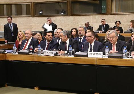 Διεθνής διάσκεψη για την Κύπρο υπό τον Γενικό Γραμματέα του ΟΗΕ Αντόνιο Γκουτέρες που αφορά το θέμα της ασφάλειας και των εγγυήσεων, στο Παλάτι των Εθνών, την Πέμπτη 12 Ιανουαρίου 2017, στη Γενεύη με τη συμμετοχή του Προέδρου της Κυπριακής Δημοκρατίας Νίκου Αναστασιάδη, του ηγέτης της Τουρκοκυπριακής κοινότητας Μουσταφά Ακιντζί, του Ειδικού Συμβούλου του ΓΓ του ΟΗΕ για την Κύπρο Έσπεν Μπαρθ Έιντε και των εκπροσώπων των εγγυητριών δυνάμεων, Ελλάδας, Τουρκίας και Ηνωμένου Βασιλείου. ΑΠΕ-ΜΠΕ/ ΚΥΠΕ/ΚΑΤΙΑ ΧΡΙΣΤΟΔΟΥΛΟΥ