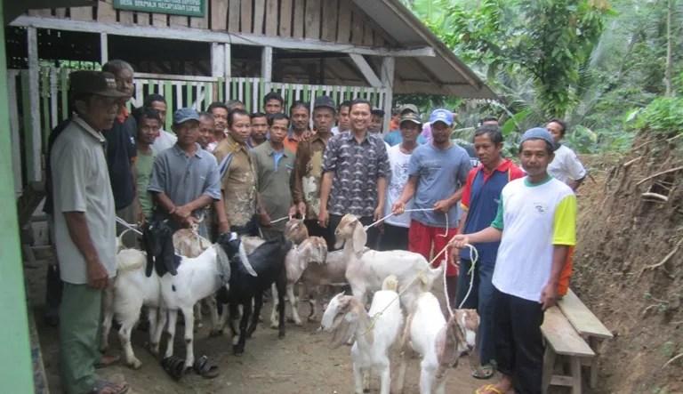 Kepala Desa Dermaji, Bayu Setyo Nugroho berfoto bersama pengurus Kelompok Ternak Wana Aji dan Para Penerima Hibah Ternak di komplek kandang ternak kambing Wana Aji