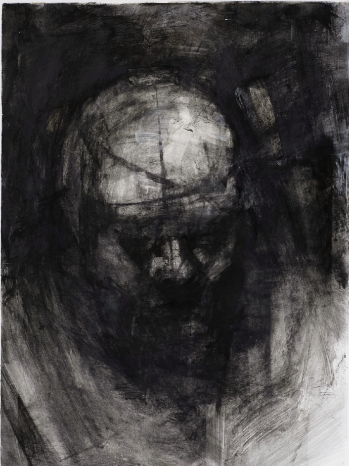 """Threshold, Head Shot 1. 30"""" x 22"""". Handmade charcoal and clear gesso on paper."""