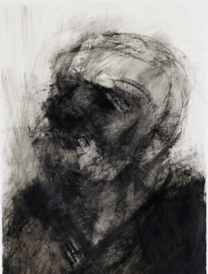 "Threshold, Head Shot 2. 30"" x 22"". Handmade charcoal and clear gesso on paper"