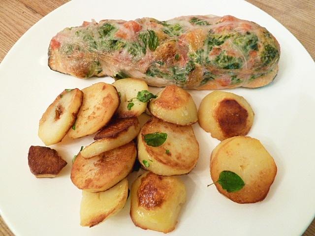 Forelle im Schweinenetz mit Majoran-Bratkartoffeln