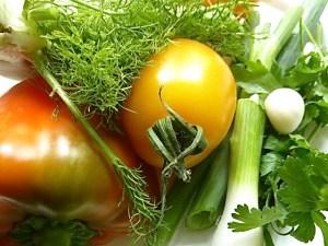 Fenchel, Tomate, Paprika, Knoblauch, Frühlingszwiebeln und Knoblauch