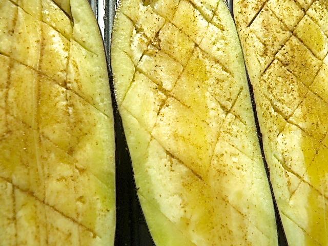 Reste vom Tatar gebraten zu Auberginen aus dem Ofen