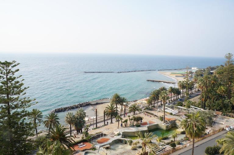 der sanfte Ausblick aus dem Hotelzimmer des Hotel Royal in San Remo