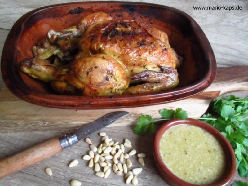 Verdanisches Huhn aus dem Römertopf mit weißer Sauce