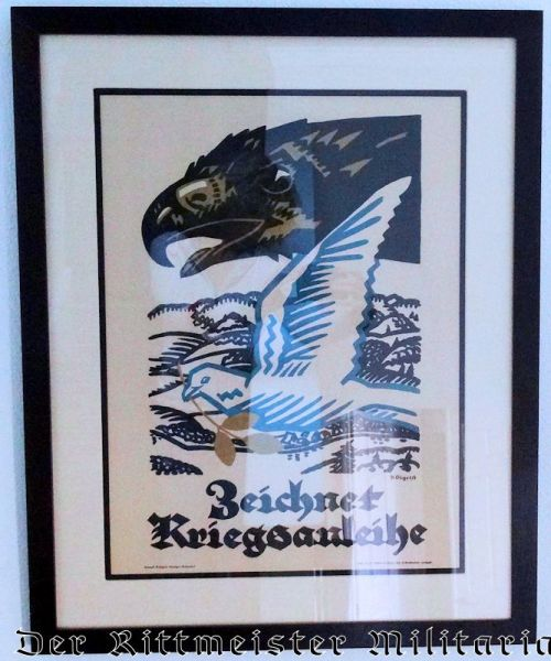 """GERMANY - POSTER - RAMED """"ZEICHNET KRIEGSSANLEIHE"""" - Imperial German Military Antiques Sale"""