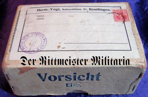 WUTTEMBERG - SHIPPING BOX - SENT TO SOLDIER - Imperial German Military Antiques Sale