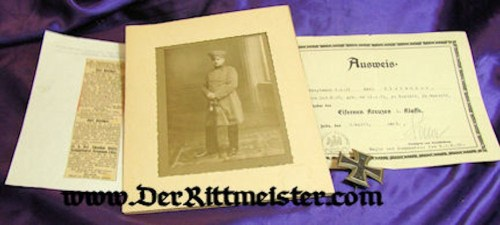 GERMANY - OFFICER'S DOCUMENT - DECORATION - PHOTOGRAPH - 1914 IRON CROSS 1st CLASS - Imperial German Military Antiques Sale