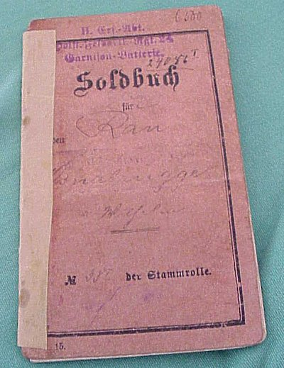 PRUSSIAN ENLISTED MAN'S SOLDBUCH - Imperial German Military Antiques Sale