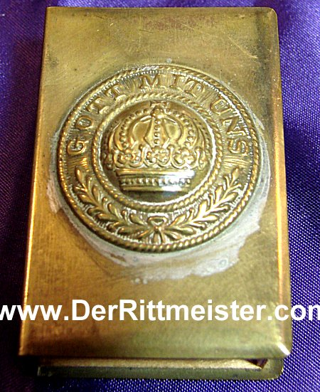 PRUSSIA - MATCHBOX - FASHIONED FROM AN ENLISTED MAN'S BRASS BELT BUCKLE - Imperial German Military Antiques Sale