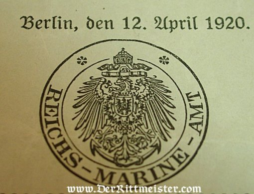 GERMANY - DOCUMENT FOR SAILOR WHO RECEIVED THE VERDIENSTKREUZ FÜR KRIEGSHILFE - Imperial German Military Antiques Sale