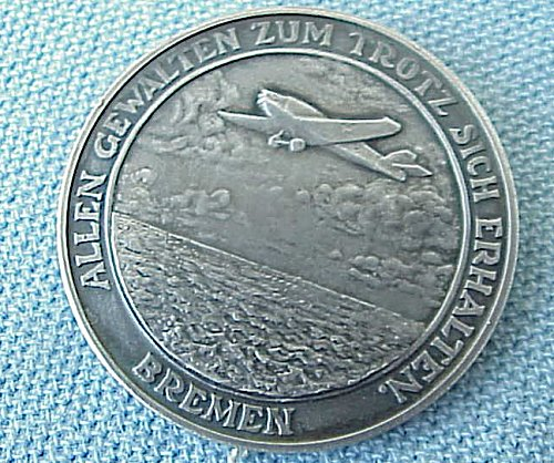 GERMANY - TABLE MEDAL - EAST WEST TRANSATLANTIC FLIGHT 1928 - HALLMARKED - SILVER .900 - Imperial German Military Antiques Sale