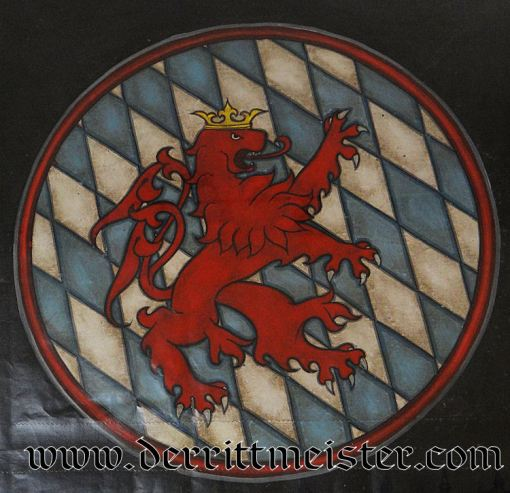 FRAMED CANVAS RECREATION (FROM FORMER ALABAMA WW I AVIATION MUSEUM) OF RAMPANT LION ON EDUARD RITTER von SCHLEICH'S AIRPLANES - Imperial German Military Antiques Sale