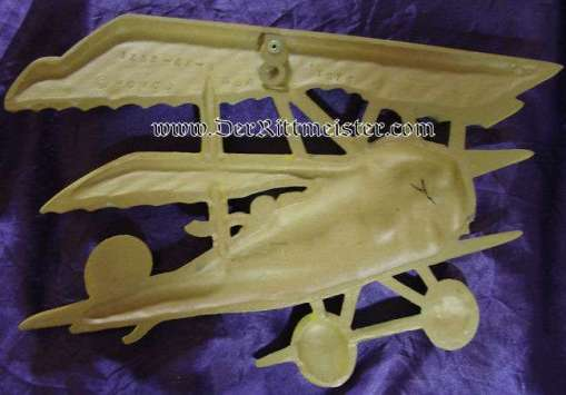 METAL FOKKER Dr 1. TRIPLANE WALL PLAQUE - Imperial German Military Antiques Sale