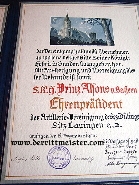 BAVARIA - PRINZ ALFONS' CASED URKUNDE - HONORARY PRESIDENT - ARTILLERY VETERANS' ASSOCIATION - DILLINGEN - Imperial German Military Antiques Sale