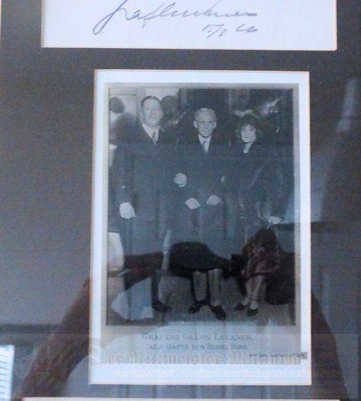 U.S. / GERMANY - NEWSPAPER - FRAMED - FELIX GRAF von LUCKNER COLLECTION FROM UNITED STATES VISIT - Imperial German Military Antiques Sale