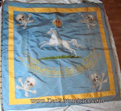 BRAUNSCHWEIG - BANNER WITH FLAG POLE - HUSAREN-REGIMENT Nr 17 AND INFANTERIE-REGIMENT NR 92 - - Imperial German Military Antiques Sale