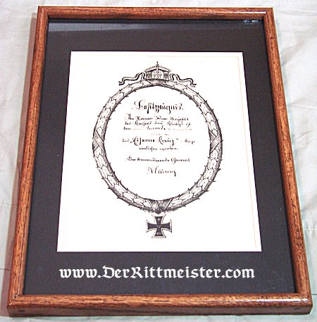 FRAMED 1914 IRON CROSS 2nd CLASS DOCUMENT - Imperial German Military Antiques Sale