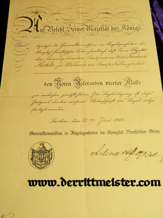 PRUSSIA - AWARD DOCUMENT - ORDER - RED EAGLE 4th CLASS - Imperial German Military Antiques Sale