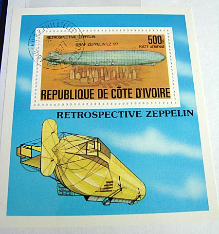 REPUBLIC DE COTE D'IVOIRE - STAMP - LARGE FORMAT - GRAF ZEPPELIN - Imperial German Military Antiques Sale