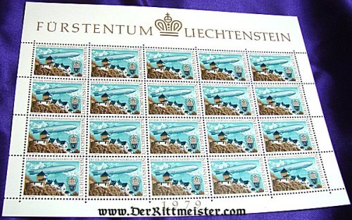 LIECHTENSTEIN - STAMPS -  GRAF ZEPPELIN - 1931 FLIGHT - BLOCK OF TWENTY - Imperial German Military Antiques Sale