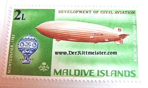 SET - FIVE STAMPS - EARLY AVIATION - GRAF ZEPPELIN - MALDIVES ISLANDS - Imperial German Military Antiques Sale