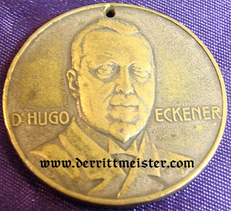 GERMANY - TABLE MEDAL - HUGO ECKNER - SMALL - BRONZE - Imperial German Military Antiques Sale