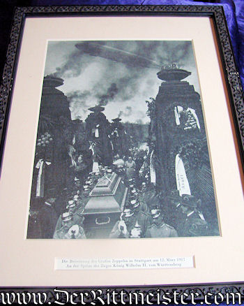 GERMANY - PHOTOGRAPH - FRAMED - GRAF FERDINAND von ZEPPELIN'S FUNERAL CORTEGE - Imperial German Military Antiques Sale