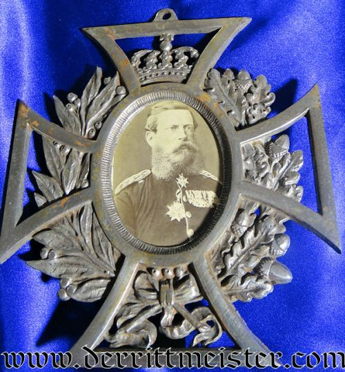 KAISER FRIEDRICH III PHOTOGRAPH IN PATRIOTIC FRAME - Imperial German Military Antiques Sale