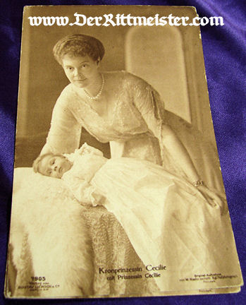 POSTCARD - KRONPRINZESSIN CECILIE - HER DAUGHTER PRINZESSIN CECILIE - Imperial German Military Antiques Sale