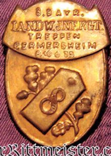 BAVARIA - VETERAN'S BADGE  - 8. LANDWEHR-REGIMENT - Imperial German Military Antiques Sale