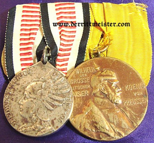 SOUTHWEST AFRICA - MEDAL BAR - TWO PLACE - NON COMBATANTS MEDAL AND KAISER WILHELM I CENTENNIAL MEDAL - Imperial German Military Antiques Sale