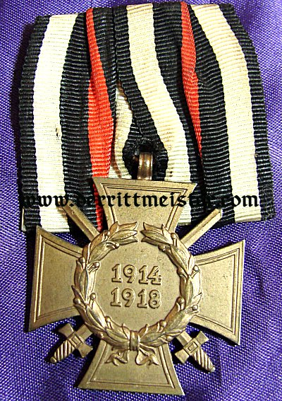 GERMANY - MEDAL BAR - ONE PLACE - HINDENBURG CROSS FOR COMBATANTS - Imperial German Military Antiques Sale