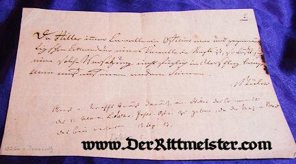 PRUSSIA - AUTOGRAPHED LETTER - GENERAL der INFANTERIE FRIEDRICH WILHELM GRAF von BÜLOW DENNEWITZ - Imperial German Military Antiques Sale