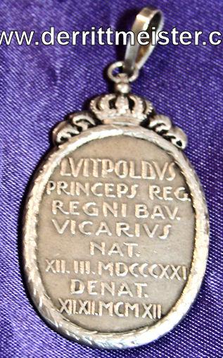 BAVARIA - PRESENTATION MEDALLION/PENDANT COMMEMORATING PRINZREGENT LUITPOLD von BAYERN'S LIFE - Imperial German Military Antiques Sale