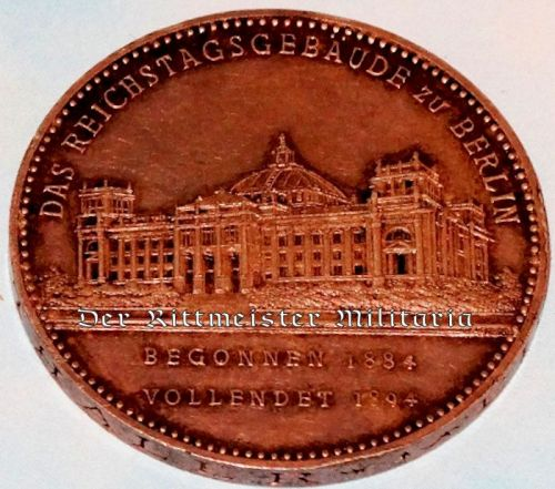 PRUSSIA - TABLE MEDAL - BERLIN - REICHSTAG BUILDING'S COMPLETION - Imperial German Military Antiques Sale