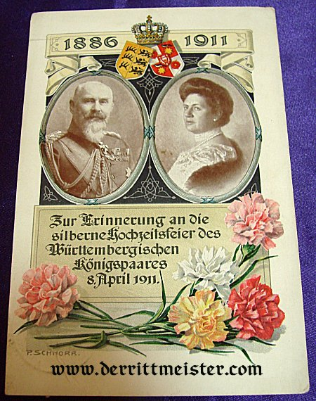 COLOR POSTCARD - KING AND QUEEN - WÜRTTEMBERG - Imperial German Military Antiques Sale