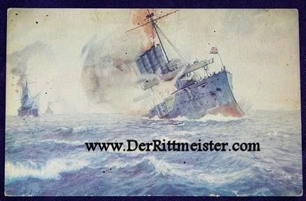 COLOR POSTCARD - SINKING THREE CRUISERS - U-9 - OTTO WEDDIGEN - Imperial German Military Antiques Sale