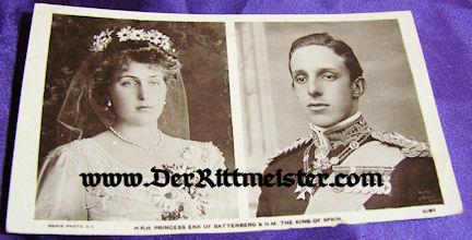 POSTCARD - KING ALPHONSE XIII - SPAIN - PRINCESS ENA - BATTENBERG - Imperial German Military Antiques Sale