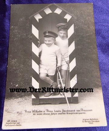 POSTCARD - KRONPRINZ WILHELM'S SONS - PRINZ WILHELM - PRINZ LOUIS FERDINAND - Imperial German Military Antiques Sale